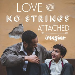 "Man mentoring kid with words ""love with no strings attached"" and Imagine Conference logo"